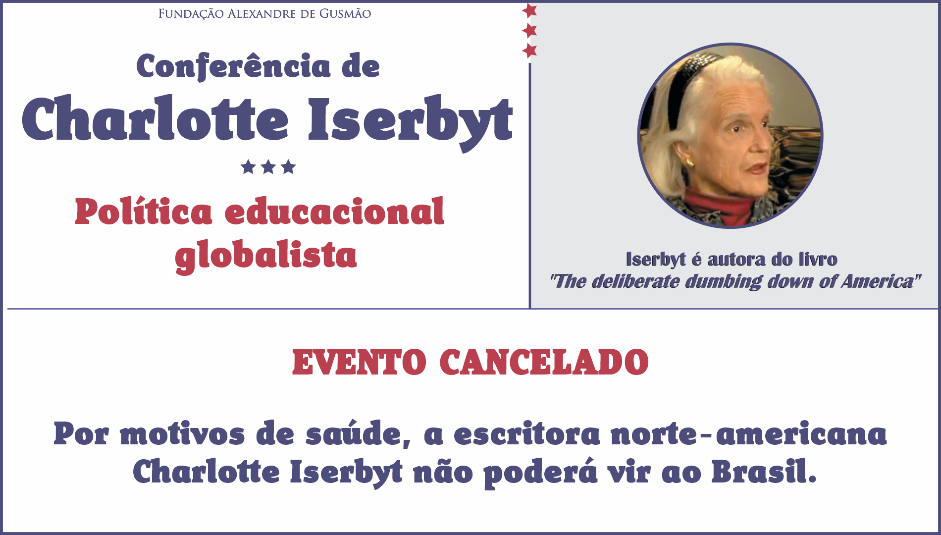 Cancellation of the conference on globalist educational policies