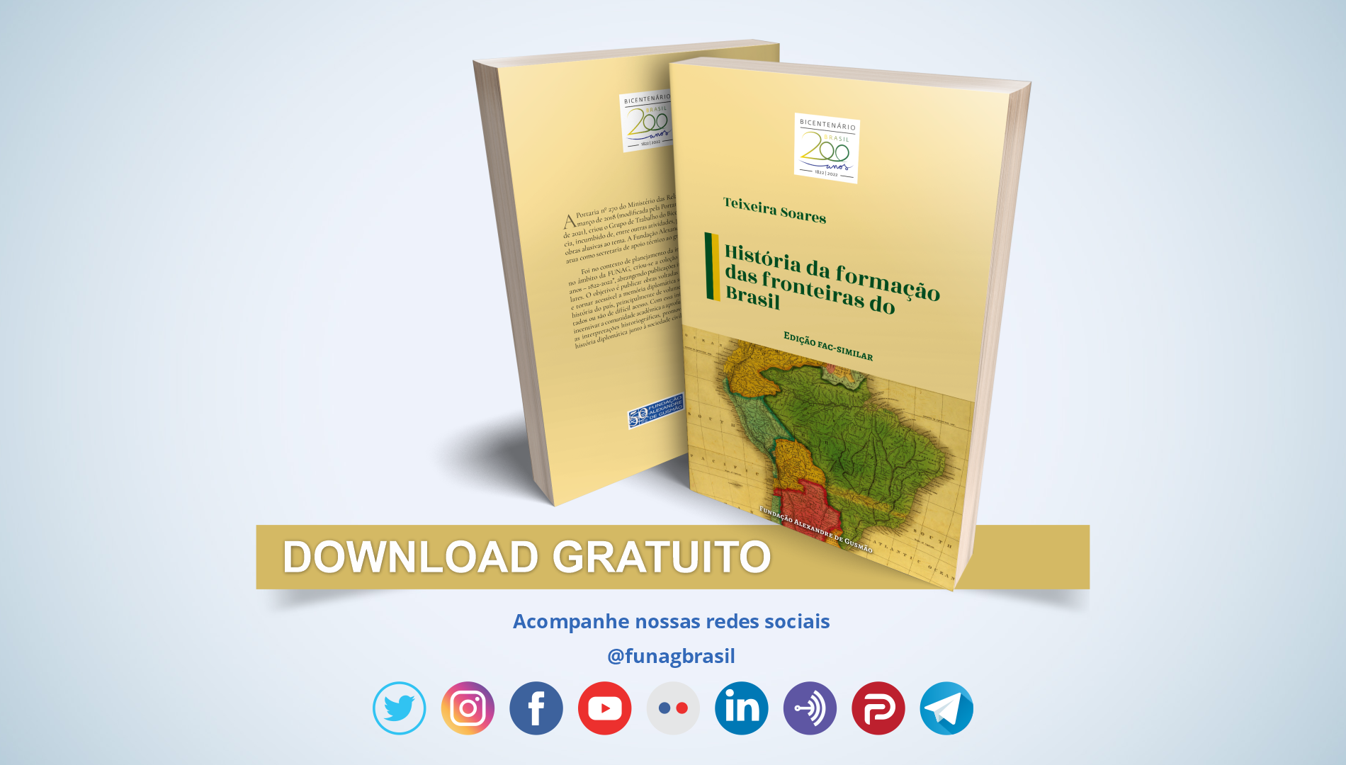 FUNAG publica livro sobre história da formação das fronteiras do Brasil